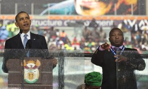 Dec.10, 2013, Thamsanqa Jantjie interprets for President Barack Obama.