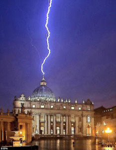 Lightning bolt strikes St. Peter's Basilica in the Vatican the same day that Pope Francis' predecessor, Benedict XVI, announced his resignation.
