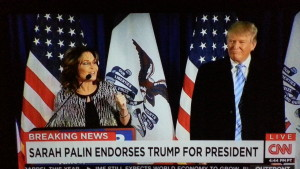 Conservative icon Sarah Palin endorses Donald Trump for President just days before the Iowa primary (1/19/16).