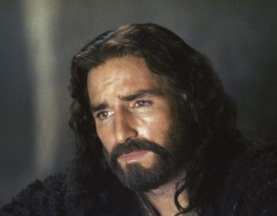 Jim Caviezel portraying Jesus in the Passion of the Christ movie